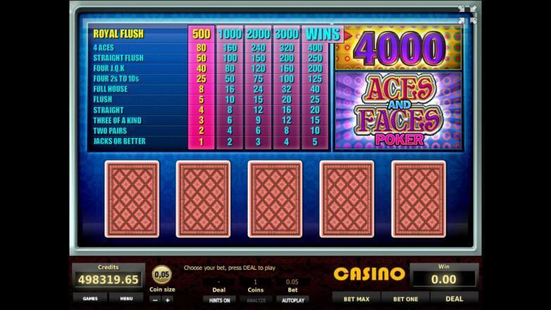 Изображение игрового автомата Aces and Faces Poker 1