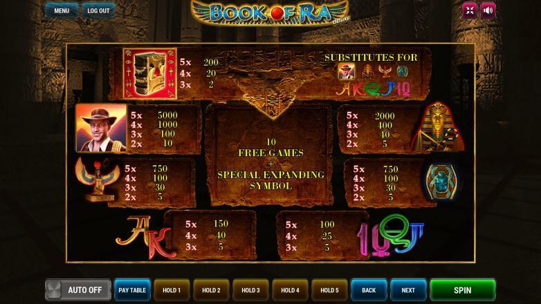 Изображение игрового автомата Book of Ra Deluxe 3